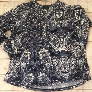 Fred David Blue & White Paisley Blouse